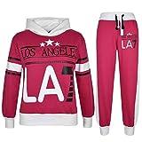 A2Z 4 Kids® Kinder Mädchen Trainingsanzug LOS ANGELES LA7 Gedruckt Kapuzenpullover & Hosen - T.S LA7 Pink 9-10