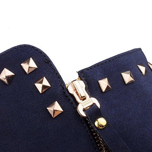 Botas Inseridos Senhoras Médio Cano Zipper Azul De Voguezone009 Alto Salto Nubuck qqTa1Y