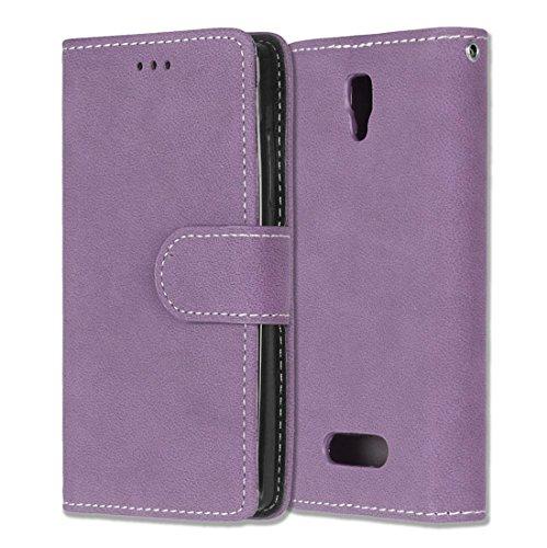Lenovo A2010 / Angus 2 Hülle, Chreey Matt Leder Tasche Retro Handyhülle Magnet Flip Case mit Kartenfach Geldbörse Schutzhülle Etui [Lila]