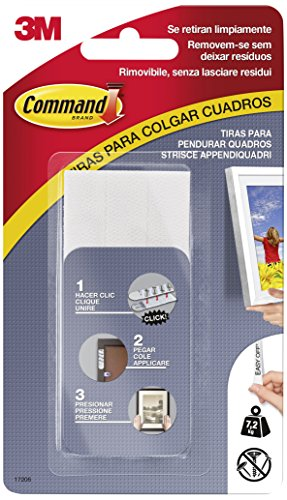 Command 17206 Pack de 8 Tiras para Cuadros Grandes Color Blanco, Set de 8 Piezas