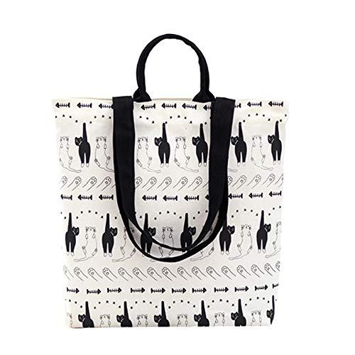 Felicove Damen Schultertasche, Nationale Wind Canvas Tote Casual Strandtaschen Frauen Einkaufstasche Handtaschen (WeißB)