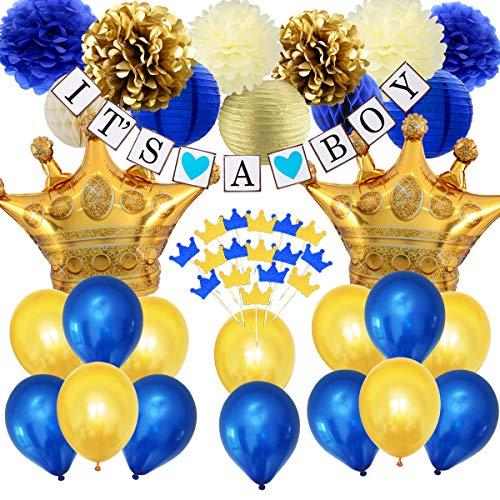 Dunkelblaue Babyparty-Dekorationen Royal Prince Babyparty für Jungen, Cupcake-Topper in Dunkelblau-Gold, Folienballons in der Krone, Bunting-Banner für Jungen und Seidenpapier-Dekor (Royal Blue Cupcakes)