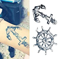 Oottati Small Cute Temporary Tattoo Riding Boat Anchor Arm (Set of 2)