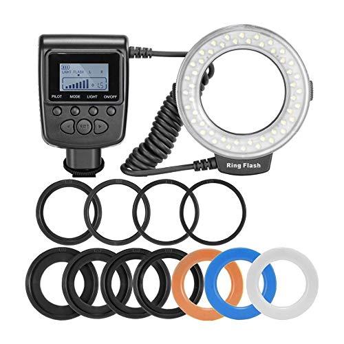 WEIWEITOE-DE 48 Makro-LED-Ringblitz-Bundle mit LCD-Display Power Control Adapterringe und Blitzdiffusoren für Canon für Nikon DSLR,...
