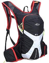 oeste biking 15L Ciclismo Mochilas Back Pack para bicicletas de montaña bicicletas de carretera bolsas senderismo Daypacks para sostener–Bolsa de hidratación, unisex, negro