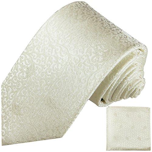 c6048177a6bbc4 Elfenbein Krawatten Set 2tlg floral Hochzeit Seidenkrawatte + Einstecktuch Paul  Malone