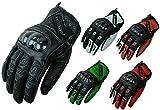 HEYBERRY Motorradhandschuhe Leder Motorrad Handschuhe kurz schwarz Gr. XL