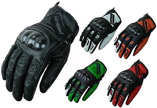 HEYBERRY Motorradhandschuhe Leder Motorrad Handschuhe kurz schwarz rot Gr. L