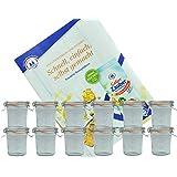 12er Set Weck Gläser 140 ml Sturzgläser mit 12 Glasdeckeln, 12 Einkochringen und 24 Klammern incl. Diamant-Zucker Gelierzauber Rezeptheft