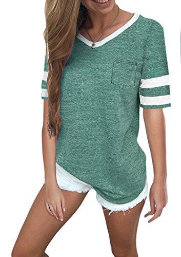 Ehpow Damen Kurzarm T-Shirt V-Ausschnitt Casual Sommer Lose Shirt Oversize Oberteile (Large, Grün) -