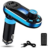 Bluetooth MP3 Player, Favoto FM Transmitter Bluetooth Car Kit Charger Hand-free Support Dual USB Ports/ SD Card/ USB Driver/ AUX Input with Remote Control (Blue)