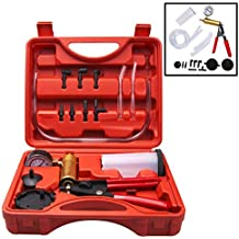 AOBETAK Kit Sangrador de Frenos, Probador de Bomba de Vacío de Mano con Adaptadores,