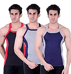 Zimfit Gym Vest - Pack of 3 (Blue_Grey_Black_36)