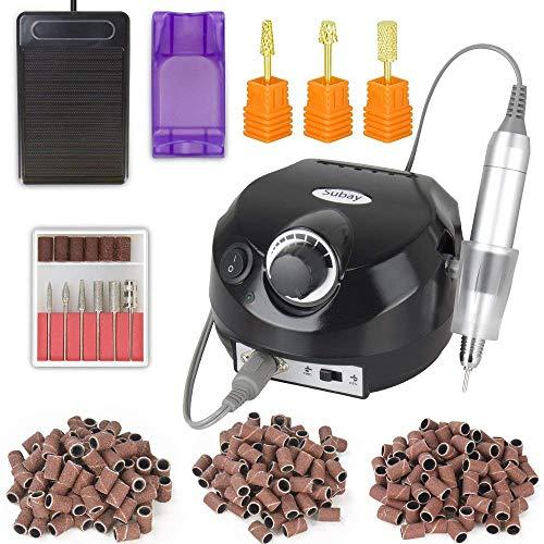 30000RPM Herramienta de manicura de Torno máquina de pulido de uña eléctrica Aparatos eléctricos con 3 uñas bits de oro y cepillo de limpieza y 300 bandas de lijado