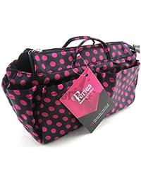 Periea Handbag Organiser 13 Compartments Black With Pink Polka Dots- Lexy