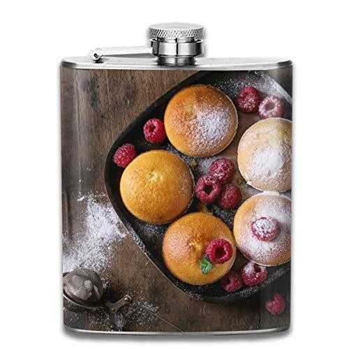 Werert Stainless Steel Flasks 7 Oz Lemon Cakes with Raspberries Whiskey Flask Hip Flask Leak Proof Wine Men Women - 4 Unzen-raspberry