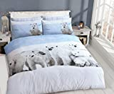 Lifestyle Production @ 3D ANIMAL/BIRD POLLY COTTON PC PHOTOGRAPHIC DUVET QUILT COVER BEDDING SET WITH PILLOWCASES (Poler Bear Family, King)