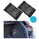 Wady - Rete portaoggetti per auto, 2 pezzi, idea le per bagagliaio, con adesivi, elastica, per il sedile posteriore