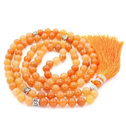 Mala Perlen Halskette, mala perlen Armband, buddhistische gebetsperlen Halskette, Lappen Halskette, Orange Aventurine mala perlen
