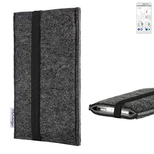 flat.design Handyhülle Lagoa für Thomson Delight TH201   Farbe: anthrazit/grau   Smartphone-Tasche aus Filz   Handy Schutzhülle  Handytasche Made in Germany