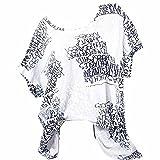 VEMOW Sommer Heißer Elegante Damen Womens Fashion Kurzarm Bluse Brief Drucken Casual Täglichen Party Weit GeschnittenShirts Tasche Tops (S-5XL)(Weiß, EU-44/CN-L)
