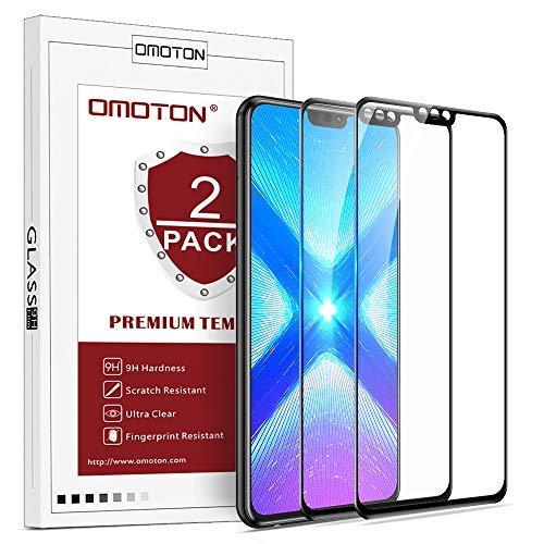 OMOTON [2 Pack Protection D'écran Honor 8X, Film Protection en Verre Trempé [Couverture Complète] [Dureté 9H] pour Honor 8X, Noir
