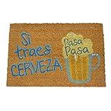 koko doormats Felpudo de Vino y Cerveza para Entrada de Casa Original y Divertido/Fibra Natural de Coco con Base de PVC, 40x60 cm (Pasa Pasa Cerveza)