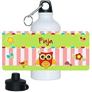 Trinkflasche mit Namen Finja und schönem Eulen-Motiv für Mädchen, aus Aluminium
