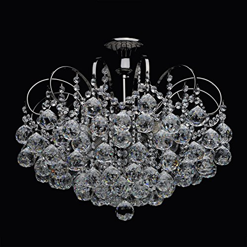Lampadario da soffitto affascinante lussuoso colore nero lucido metallo cristallo sfarzoso in stile barocco classico 6-bracci 6*60w e14-escl