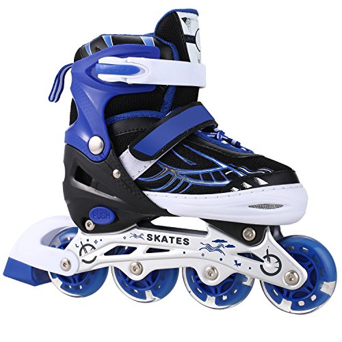 ANCHEER Für Kinder Jungen Mädchen Einstellbare Größen Beleuchtung Räder Atmungsaktives Mesh Dreifachschutz Inline Skates Aluminium Rahmen Einstellbare Rollschuhe (Blau, 35-38) -