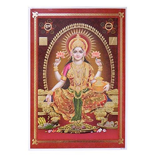 Bild Lakshmi 33 x 48 cm Gottheit Hinduismus Kunstdruck Plakat Poster Gold Religion Spiritualität Dekoration