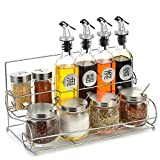 XUE Gewürz-Flaschen-Set: Automatischer Stopper, Präzise-Ausguss-Auslauf (inkl. Edelstahl-Regale + Öl-Fülltrichter)