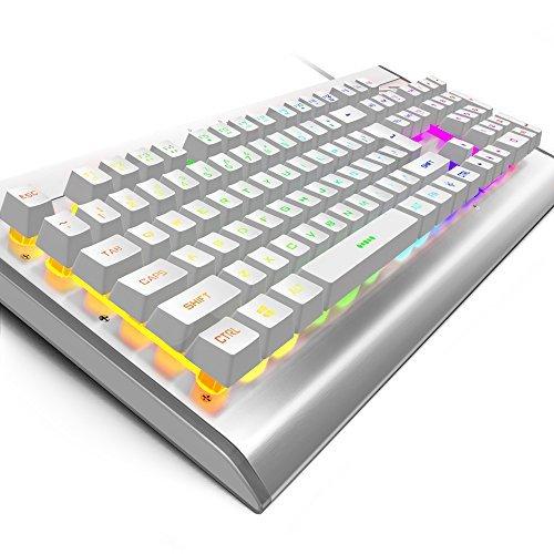 Oja Multicolor LED-Hintergrundbeleuchtung Gaming-Tastatur, Rainbow 7-Colors Sprachsteuerung beleuchtet Wired Computer Tastatur Rot & buntes Licht 104Tasten für PC Welt Laptop Silver&White