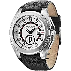 Police Men's Fighter Quartz Watch with Silver Dial Analogue Display and Black Leather Strap 14194JS/04
