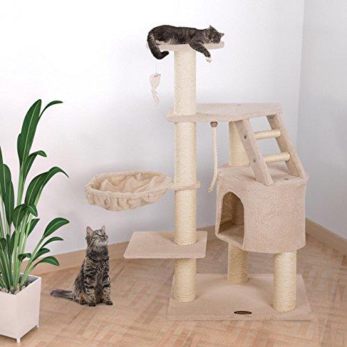 happypet kratzbaum f r katzen 120 cm hoch mit extra dicken s ulen komplett mit sisal ca 9 0 cm. Black Bedroom Furniture Sets. Home Design Ideas