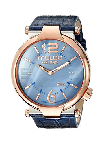 MULCO Women's 'Couture Slim' Swiss Quartz Stainless Steel and Silicone Casual Watch, Color:Blue (Model: MW5-3183-043)