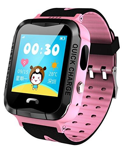 GPS Rastreador NIÑOS reloj inteligente anti-lost SOS impermeable al aire libre rosa relojes con linterna