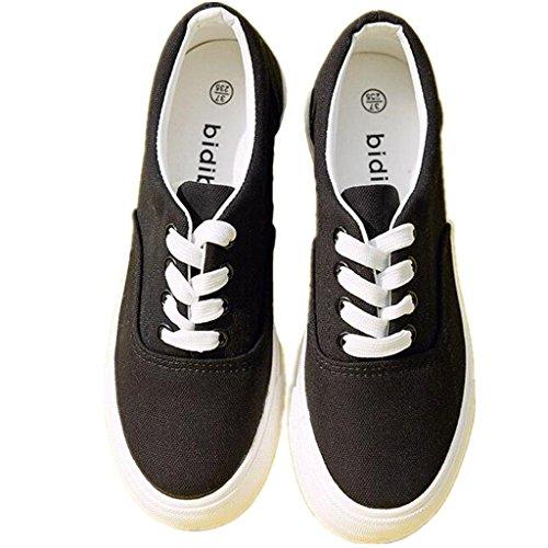SHFANG Lady Shoes Permeability Flat Bottom Canvas Shoes Movimento Comodo Leisure Studenti Shopping Daily Black White Black