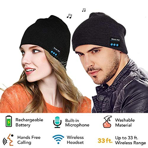 Cappello Berretto Bluetooth,Cappello Illuminato Nuovo Beige Caldo Luminoso del LED Beanie (Berretto Musicale Bluetooth)