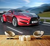 Premium Vliestapete Fahrender Sportwagen Fototapete DA00000332 Vliestapete XXL S 200 x 140cm - 4 Teile - Vlies