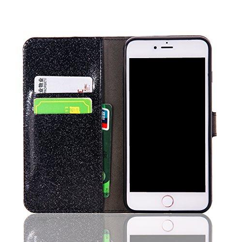 Lusso Wallet Case per iPhone 6Plus, MAOOY iPhone 6sPlus Moda Sparkle Shiny Cristallo Rhinestone Cassa, iPhone 6Plus/6sPlus Libro Portafoglio Custodia con Magnatic Closure & Carta di Credito & Basament Nero 2