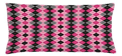90 Lutschtabletten (ABAKUHAUS rosa-Grau Kissenbezug, Diamanten und Lutschtabletten, Waschbar mit Reißverschluss Kissenhülle mit Farbfesten Klaren Farben Beidseitiger Druck, 90 x 40 cm, Baby Pink Schwarz Grau)