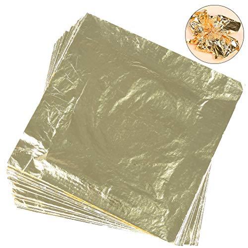 TIMESETL 100Blatt Blattgold Imitation 14x14cm Blattgold zum Basteln für Kunstprojekt, Vergoldung Handwerk, Dekoration, DIY, Möbel (Gold) -
