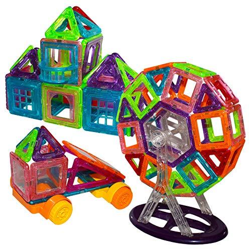 Kurtzy Set de Construcción 131 Piezas Imantadas - Juguetes Educativos para Niños - Piezas de Construcción - Juguetes Desarrollo Creatividad para Niños y Niñas - Pegatinas de Letras y Animales