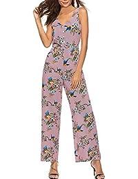 Damen Jumpsuit EUZeo Frauen Vögel und Blumen Print ärmellose Lässige  Elegant Lang Clubwear Wide Leg Pants 0ba214cdb8