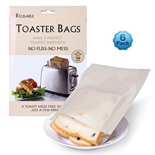 Toaster Bags (Pack of 6), Ankway Non-Stick Reusable Snack Cheese Panini Sandwich Toaster Bags for Microwave, Oven, Toaster, Grill and Griddle - Premium Quality, Reusable Up to 100 Times