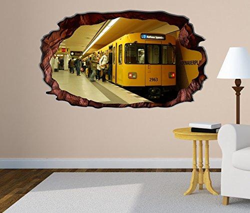 3D Wandtattoo Metro Station Zug Bahn Berlin selbstklebend Wandbild Tattoo Wohnzimmer Wand Aufkleber 11M1853