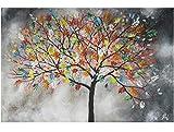 KunstLoft Acryl Gemälde 'Evolution' 120x80cm | original handgemalte Leinwand Bilder XXL | Abstrakt Baum Grau Bunt | Wandbild Acrylbild Moderne Kunst einteilig mit Rahmen