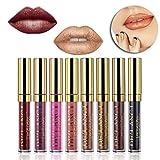DE'LANCI Opaco metallico liquido Rossetto Gloss impermeabile Long Lasting Lip Kit 8Pcs / set immagine