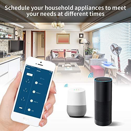 EleLight Wi- Fi Enchufe Múltiple Inteligente Regleta con 3 Enchufes y 2 Puertos USB,  Control de Voz Funcionar con Amazon Alexa Echo y Goolge Home Remote con APP,  Diseño Seguro adecuado para Hogar